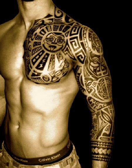 tattoo chest shoulder tribal tattoo idea for men on chest and shoulder loves