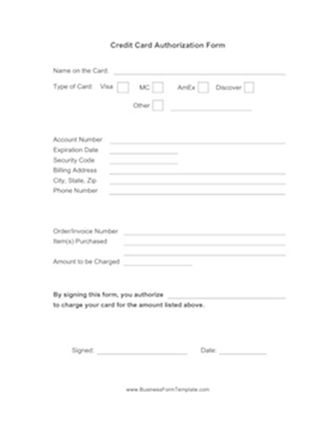 One Time Credit Card Authorization Form Template Credit Card Authorization Form Template