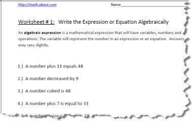 Writing Algebraic Expressions Worksheet by Numeral Worksheets With Answers