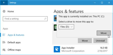 install windows 10 to different drive how to install or move apps to another drive on windows 10