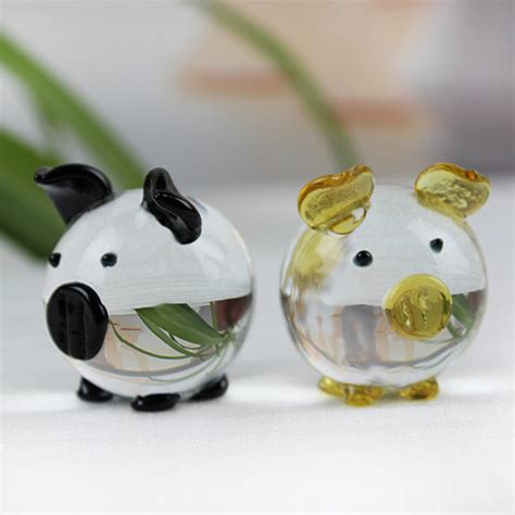 small animal figurines for crafts k9 pig figurines miniatures glass animal miniature house decoration fengshui crafts
