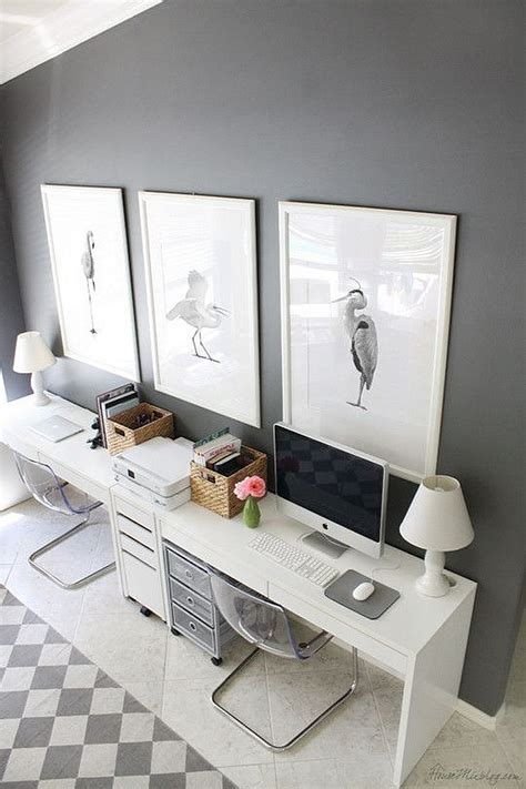 Home Office Desk For Two Ikea Micke Computer Workstation White In Gray Room With An Imac Minimalist Desk Design Ideas
