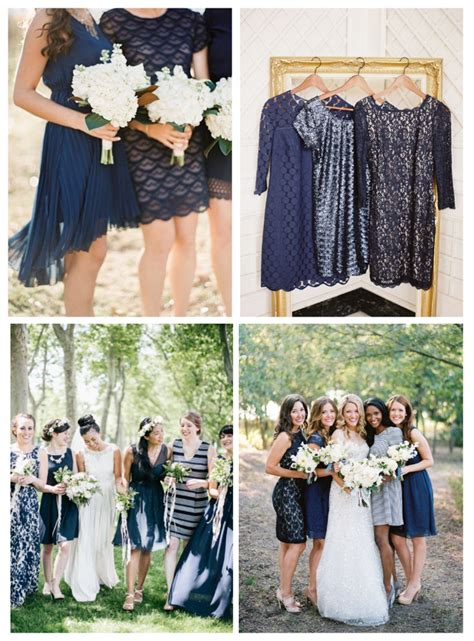 Navy Black Flower Mix mismatched bridesmaid dresses in navy blue navy wedding