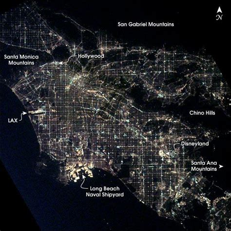 us map at from space los angeles at as seen from the international space
