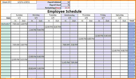 monthly work schedule template printable calendar