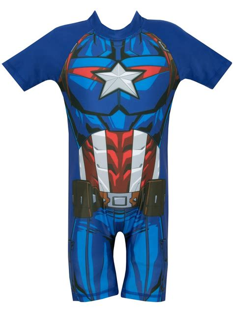 Captain America Blue Swimsuit buy boys marvel captain america swim suit character