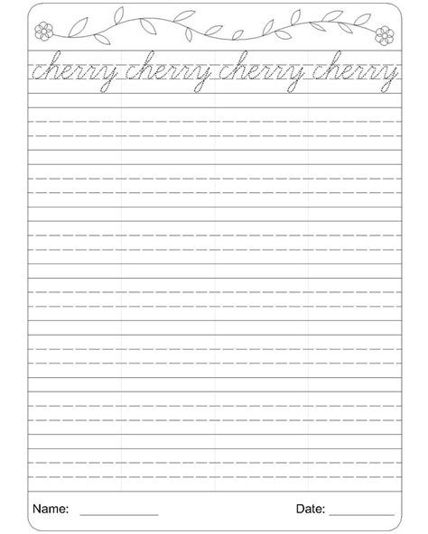 handwriting templates for grade cursive writing worksheet 3