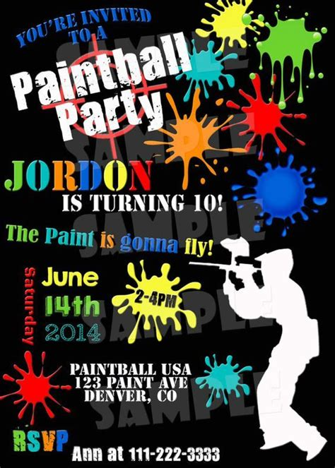 printable birthday invitations paintball printable paintball party invitation by