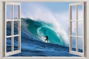 Ocean Wall Mural Extreme Wave Surfing 3d Window View Decal Wall Sticker