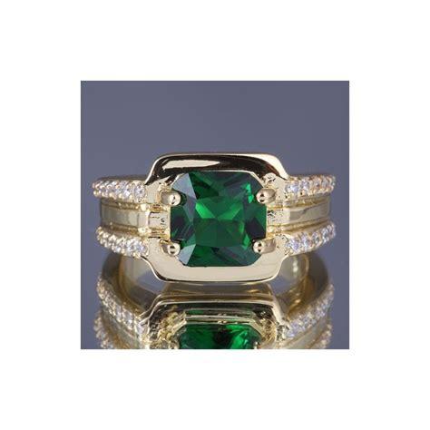 Cincin Gold cincin pria bahan gold filled 10k batu zamrud imitasi