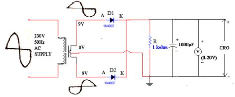 circuit diagram of wave rectifier with filter
