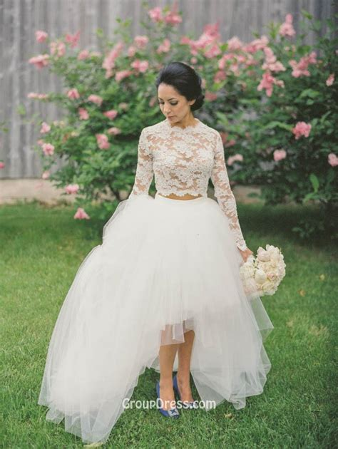 White Two Piece Long Sleeved Lace Tulle High low Fashion A