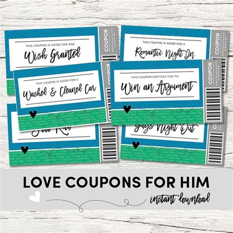 romantic and naughty printable love coupons for him coupons