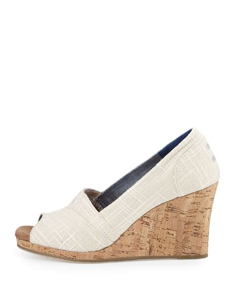 toms canvas open toe wedge sandal in lyst