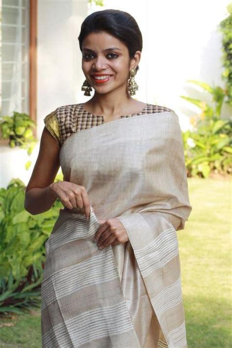 High Neck Blouse With Kerala Saree by Jute White Saree Checks Blouse Minmit Clothing