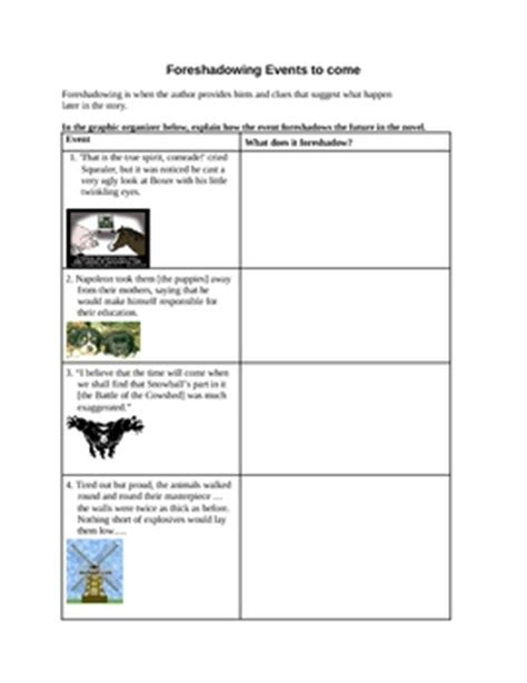 Foreshadowing Worksheets by Animal Farm Foreshadowing Graphic Organizer By Jim Tuttle