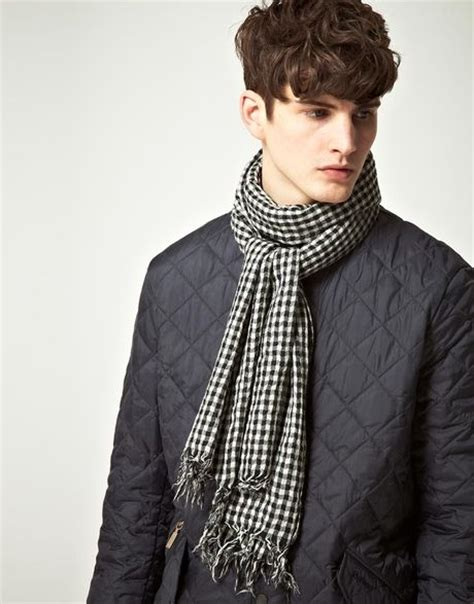 barbour barbour lightweight gingham scarf in black for