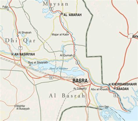 where is basra on a map basra province iraq mapsof net
