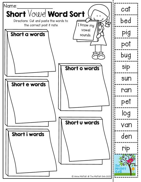 printable short vowel word games short vowel word sort cut and paste tons of back to