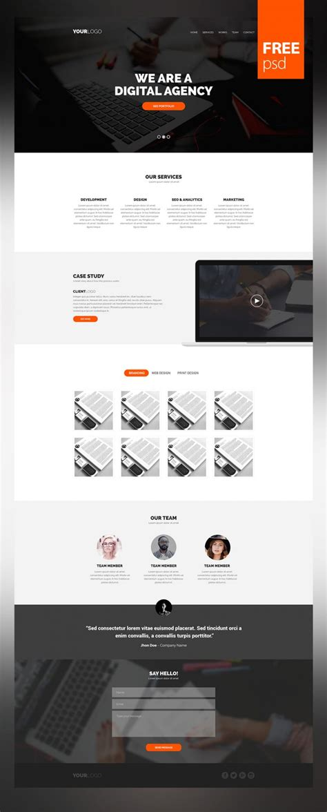 Simple And Clean Website Template Psd For Creative Digital Agencies Download Download Psd Digital Agency Website Templates