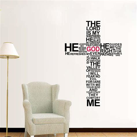 new cross christian removable wall stickers jesus