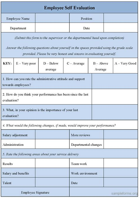 evaluation form template evaluation form employee performance