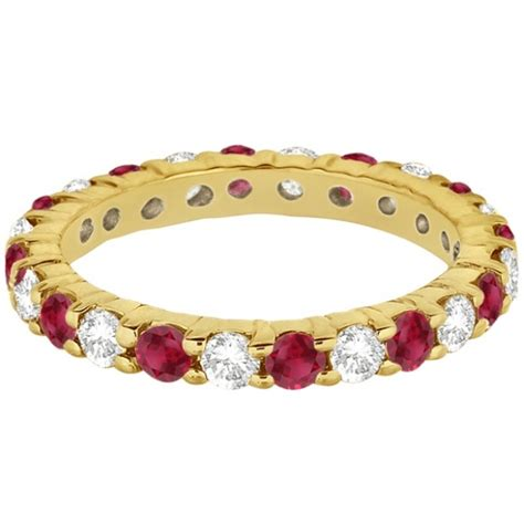 Ruby 5 35ct eternity ruby ring band 14k yellow gold 2 35ct