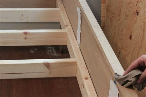 ana white diy wood bed frame  reclaimed wood legs