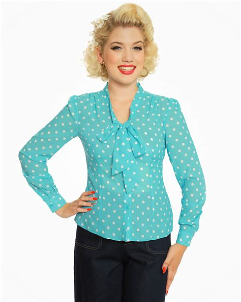 Blouse Atasan Polkadot fallon turquoise polka dot blouse vintage inspired fashion lindy bop