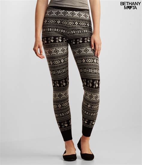 aeropostale pattern leggings aeropostal fair isle sweater leggings in black lyst