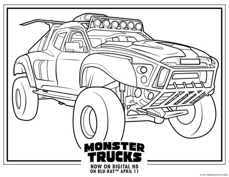 monster trucks printable coloring pages    boys