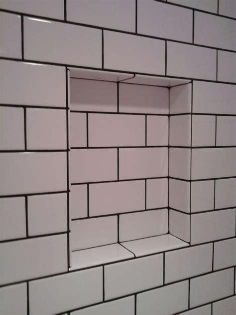 subway style tile subway tiles with black grout 1920s shower room pinterest