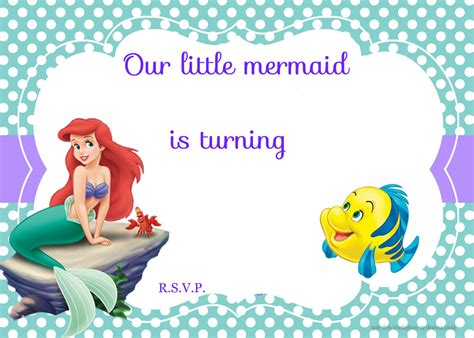 printable birthday invitations little mermaid updated free printable ariel the little mermaid