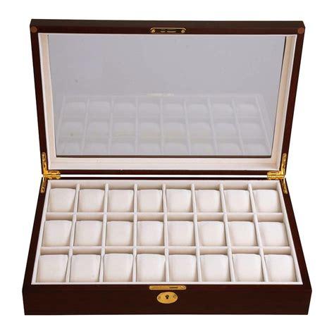 24 wood top glass jewelry display organizer box