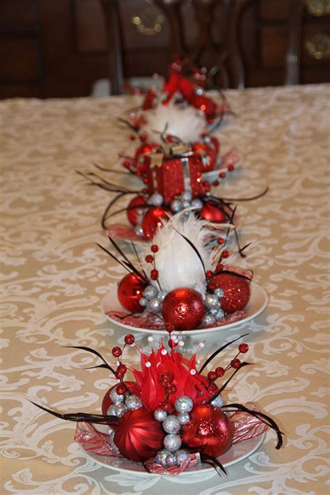set of five unique christmas feathered centerpieces red and