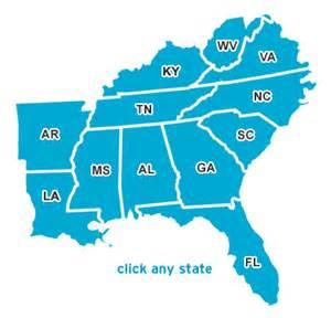 south east america map across america southeast