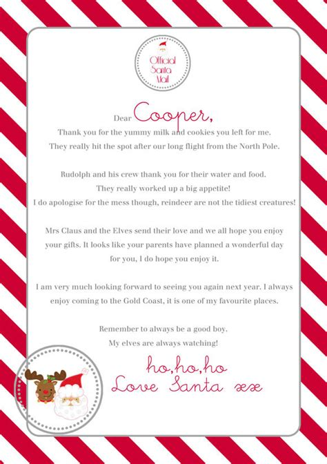 personalized letters from santa letter form santa to template printable new