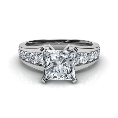 pave engagement rings tapered pave engagement ring with 12 diamonds in 14k gold