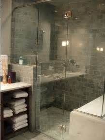 Glass Subway Tile Bathroom Ideas by Blue Gray Subway Tiles Contemporary Bathroom