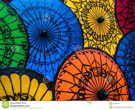 X2 3746 St Umbrella colorful asian umbrellas at traditional burmese market stock photo image 42344007