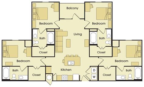 floor plan with 4 bedrooms four bedroom floor plan avalon place apartments