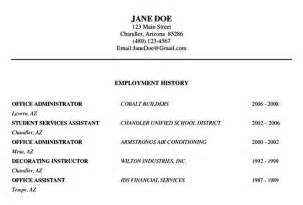 work history template resume employment history