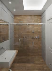 Merveilleux Revetement Murs Salle De Bain #3: carrelage-salle-bains-bois-cabine-porte-coulissante-b%C3%A9ton.jpg