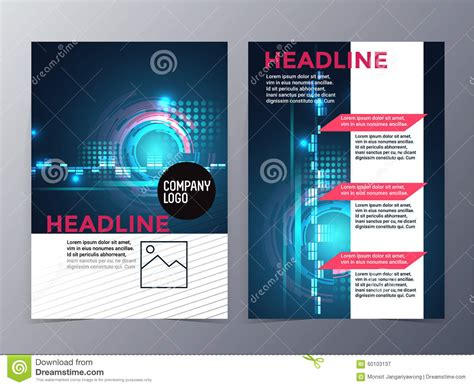Business And Technology Brochure Design Template Vector Tri Fold Stock Vector Illustration Of Technology Templates