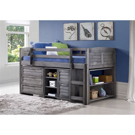 kids loft bedroom sets donco kids grey louver low loft bed with chests shelves