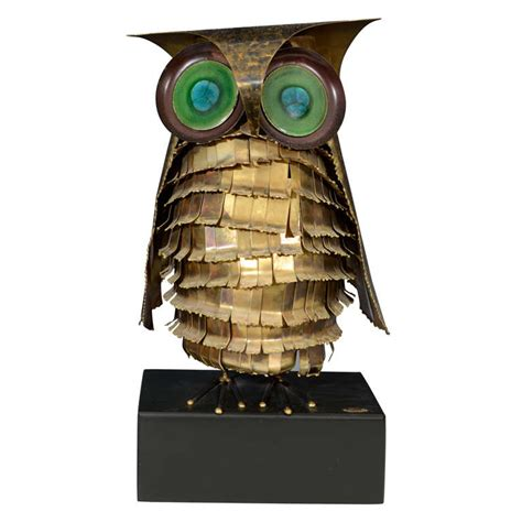 unique large mid century owl sculpture by curtis jere at
