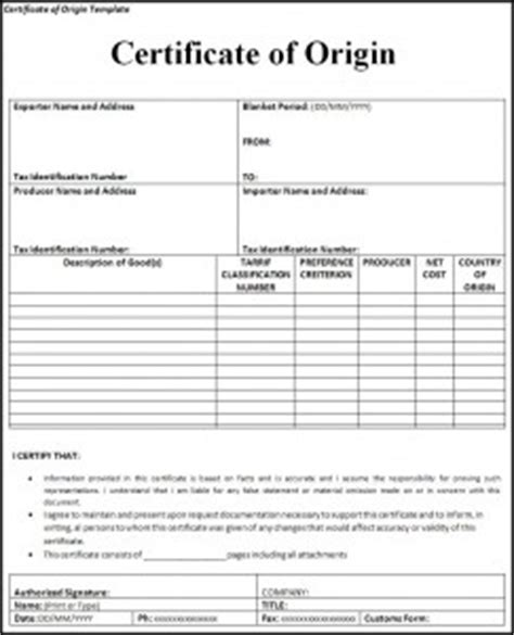 certificate of origin template pdf 6 free certificate of origin templates excel pdf formats