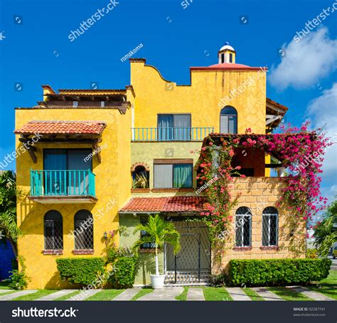 mexican house music colorful caribbean tropical style house playa stock photo 92287741 shutterstock