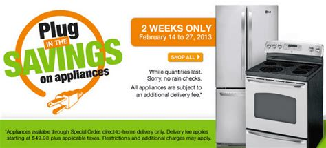 the home depot canada offer save up to 25 on appliances