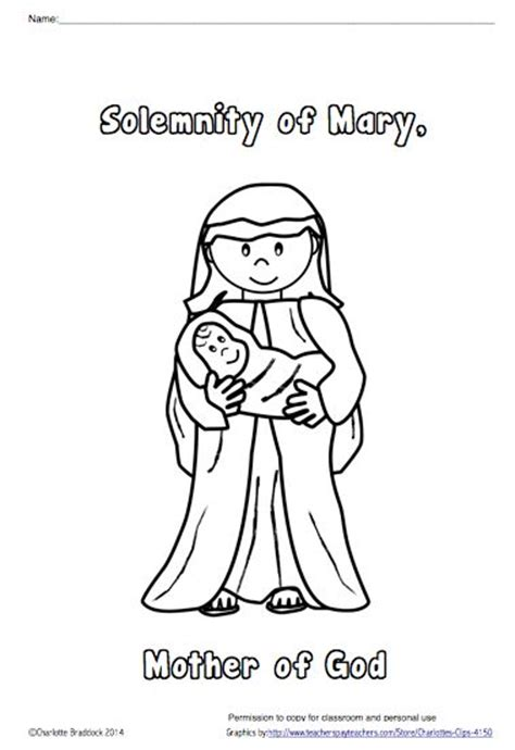 coloring pages religious education free solemnity of mary mother of god coloring sheet from